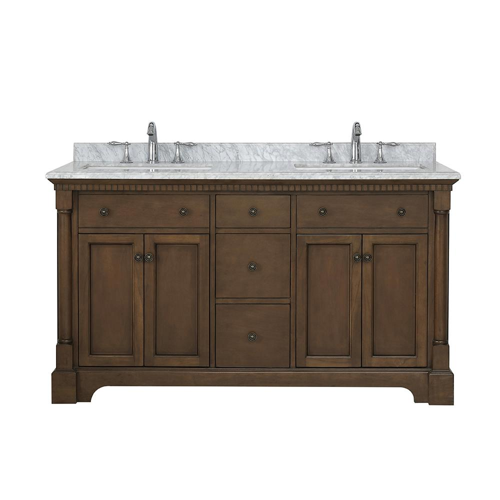 OVE Decors Claudia 60 in. W x 22 in. D Bath Vanity in Antique Coffee with Marble Vanity Top in Carrara with White Basin