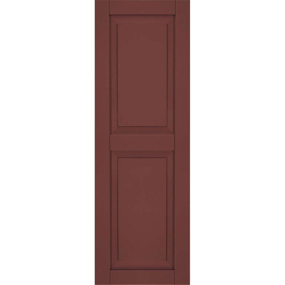 Ekena Millwork 15 in. x 75 in. Exterior Composite Wood Raised Panel Shutters Pair Cottage Red