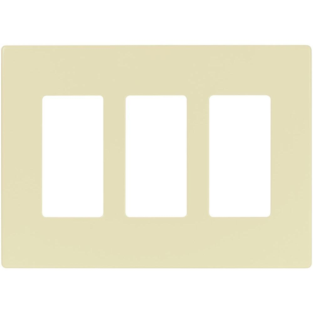 3-Gang Decorator Screwless Wall Plate, Almond