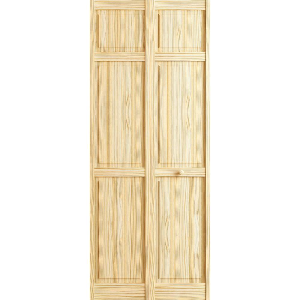 Beau 6 Panel Pine Unfinished Interior Closet Bi Fold Door 3115151   The Home  Depot
