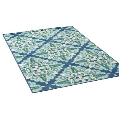 Kaia Blue and Green 8 ft. x 11 ft. Argyle Medallion Indoor/Outdoor Area Rug