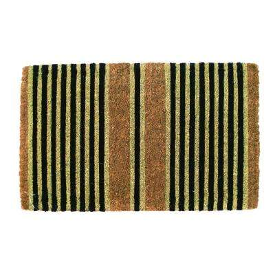 Ticking Stripes Black 18 in. x 30 in. Extra Thick Coconut Fiber Door Mat