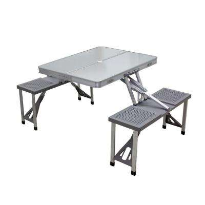 Aluminum Outdoor Patio Picnic Table with Grey Seats