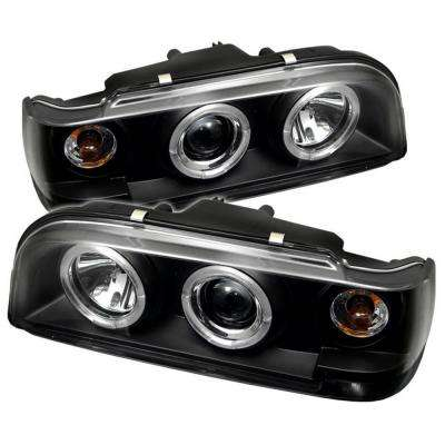 Volvo 850 93-97 Projector Headlights - LED Halo - Black - High H1 (Included) - Low H1 (Included)