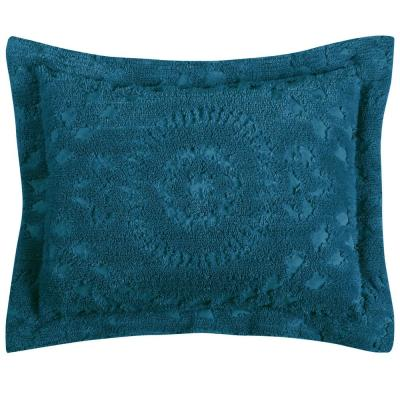 Rio Collection in Floral Design Teal Standard 100% Cotton Tufted Chenille Sham