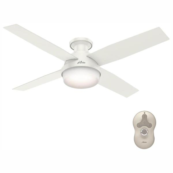 Dempsey 52 in. Low Profile LED Indoor Fresh White Ceiling Fan with Universal Remote