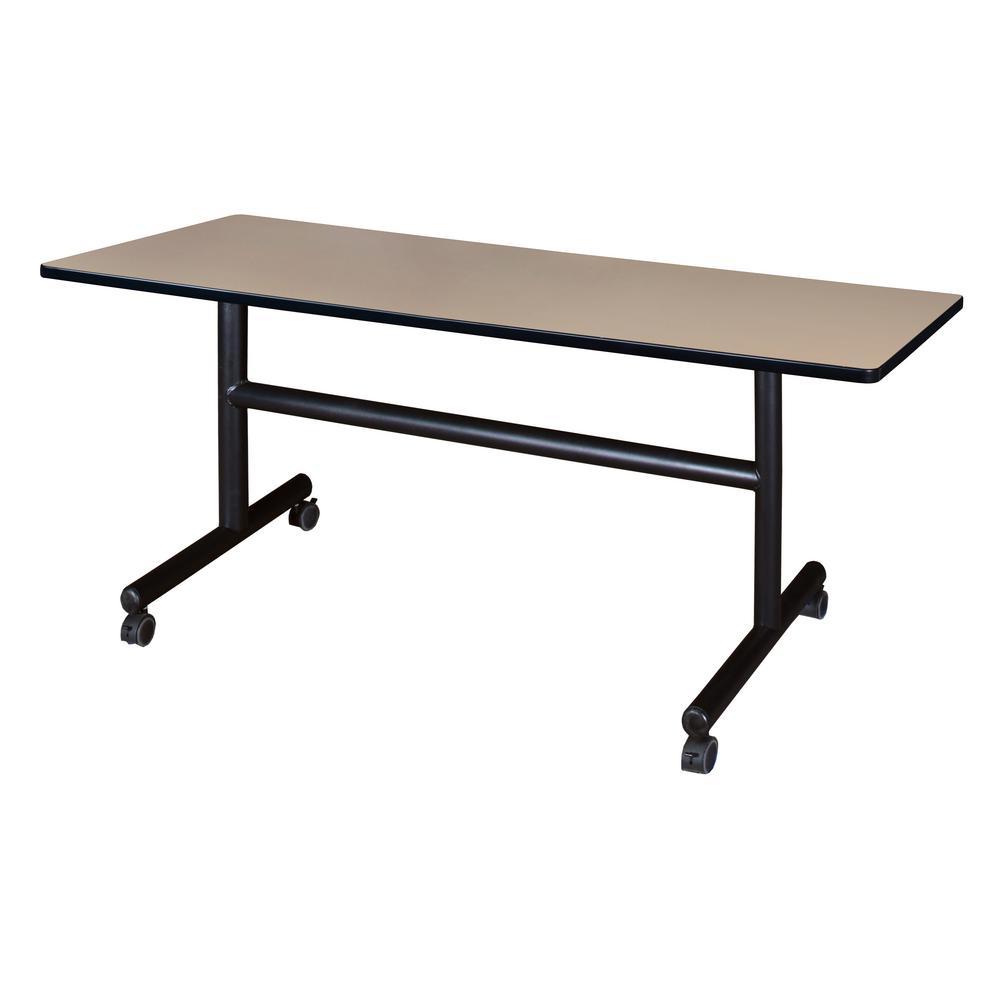 Regency Kobe Beige 60 in. W x 30 in. D Flip Top Mobile Training Table