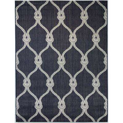 Trellis Rope Navy 5 ft. 3 in. x 7 ft. Indoor/Outdoor Area Rug