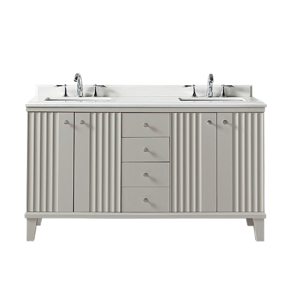Martha Stewart Living Parker 60 In. W X 22 In. D Vanity In Bedford Grey  With Quartz Vanity Top In White With White Basin-Parker 60BG - The Home  Depot