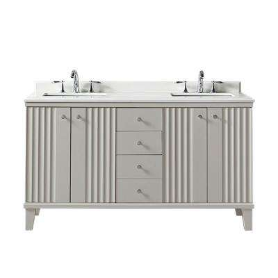 Parker 60 in. W x 22 in. D Vanity in Bedford Grey with Quartz Vanity Top in White with White Basin