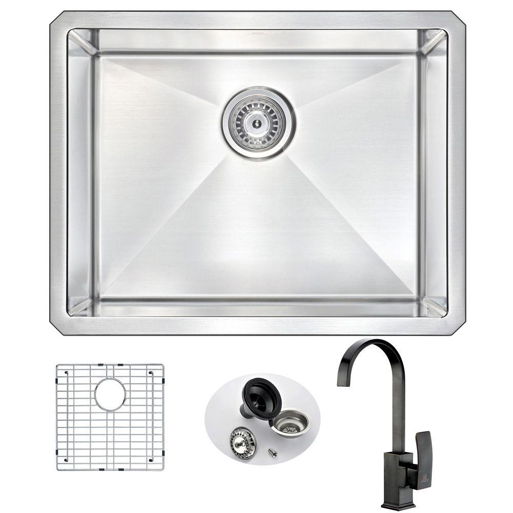 Anzzi Vanguard Undermount Stainless Steel 23 In Single Bowl Kitchen Sink And Faucet Set With