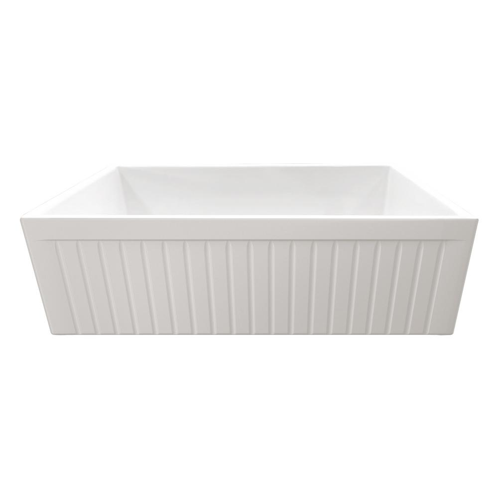 Apron Front Fireclay 33 in. Single Bowl Kitchen Sink in White