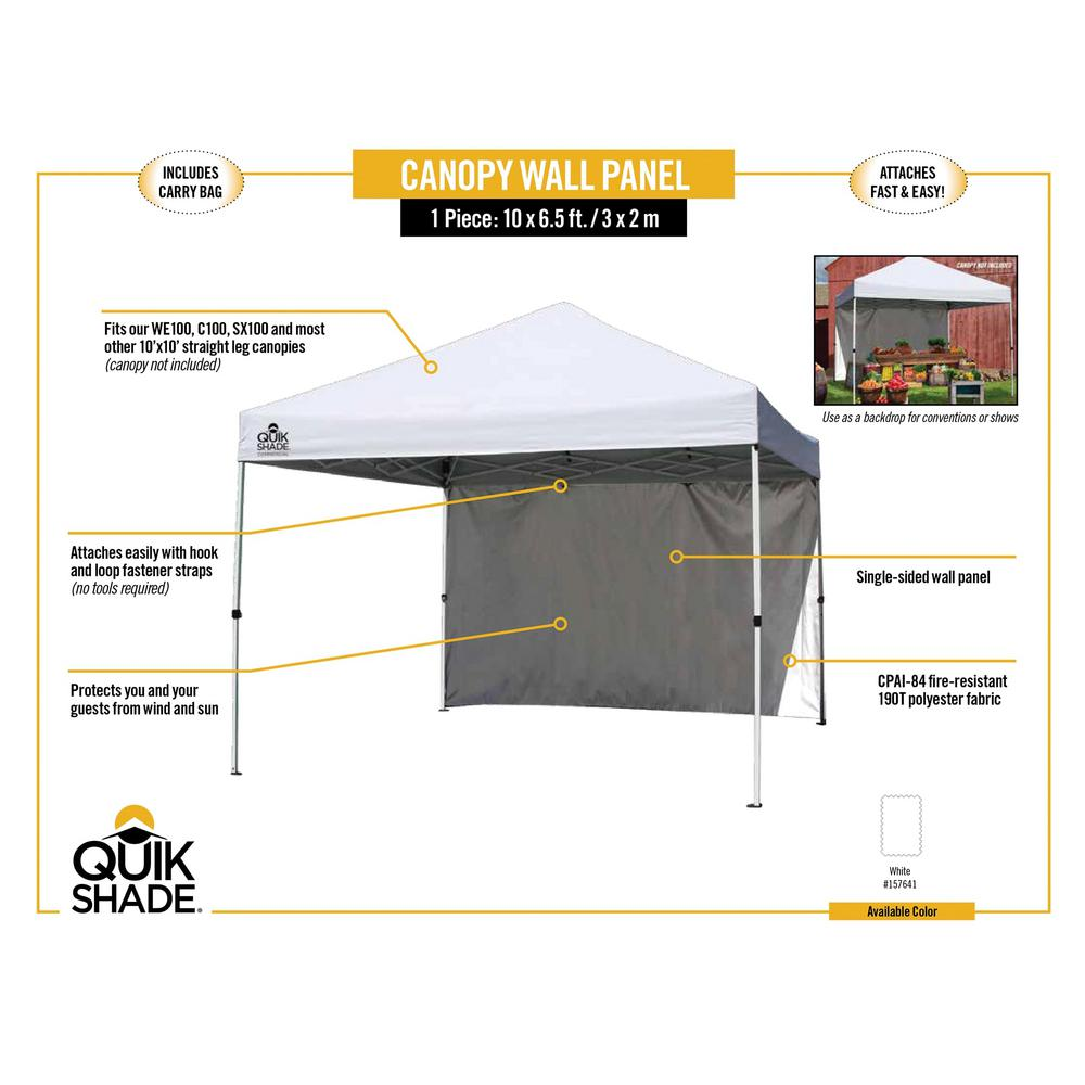 Quik Shade 10 Ft White Canopy Wall Panel 157641ds The Home Depot