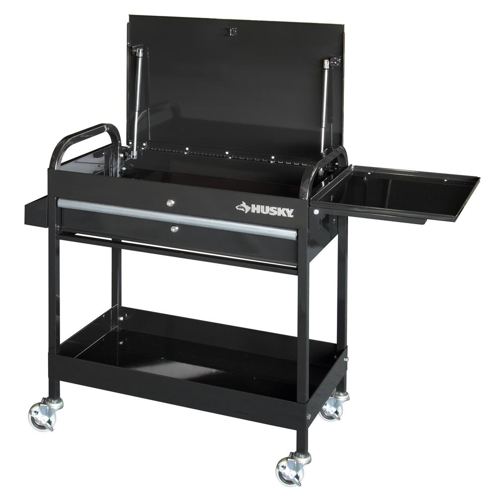 Utility Tool Cart Rolling Work Table Tray Drawer Garage