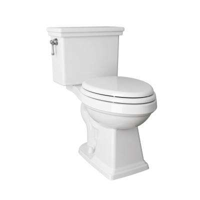 Lexington Tall Height 2-Piece 1.28 GPF Single Flush Elongated Toilet in White with Slow Close Seat