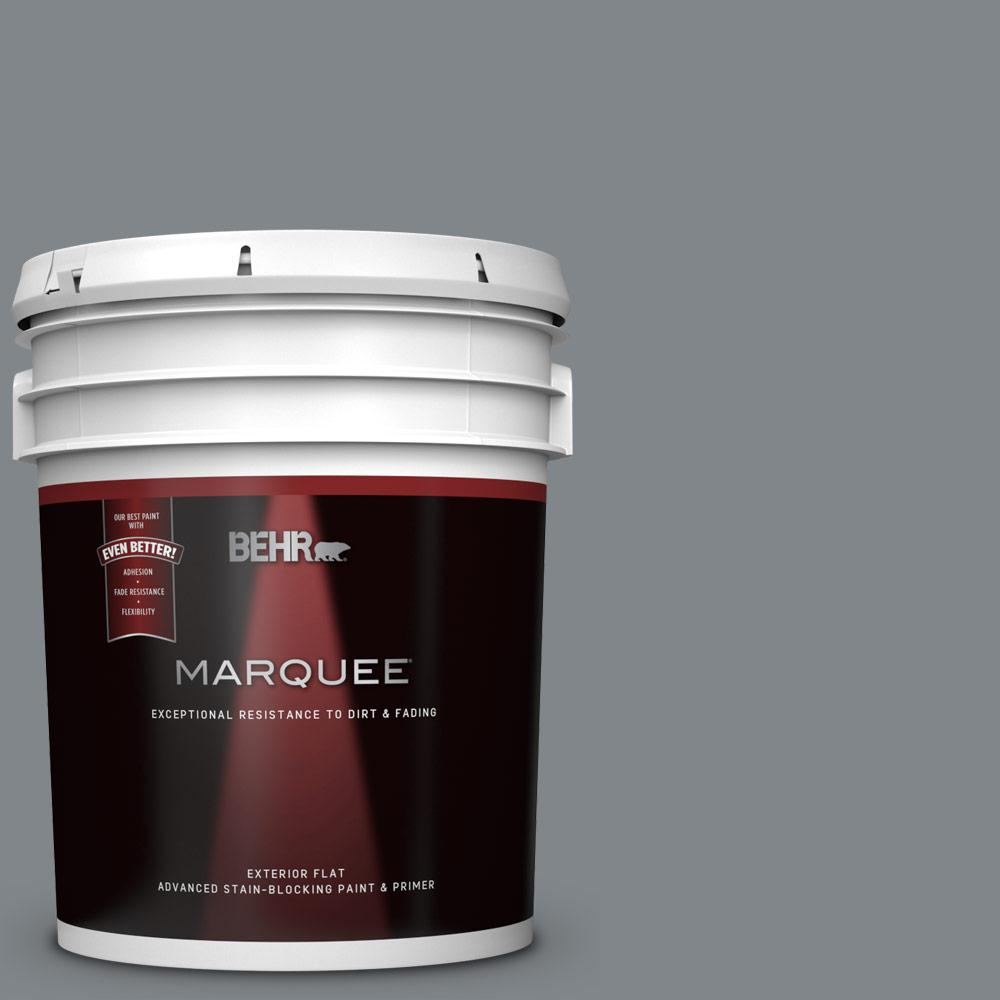 5 gal. #N500-5 Magnetic Gray color Flat Exterior Paint and Primer