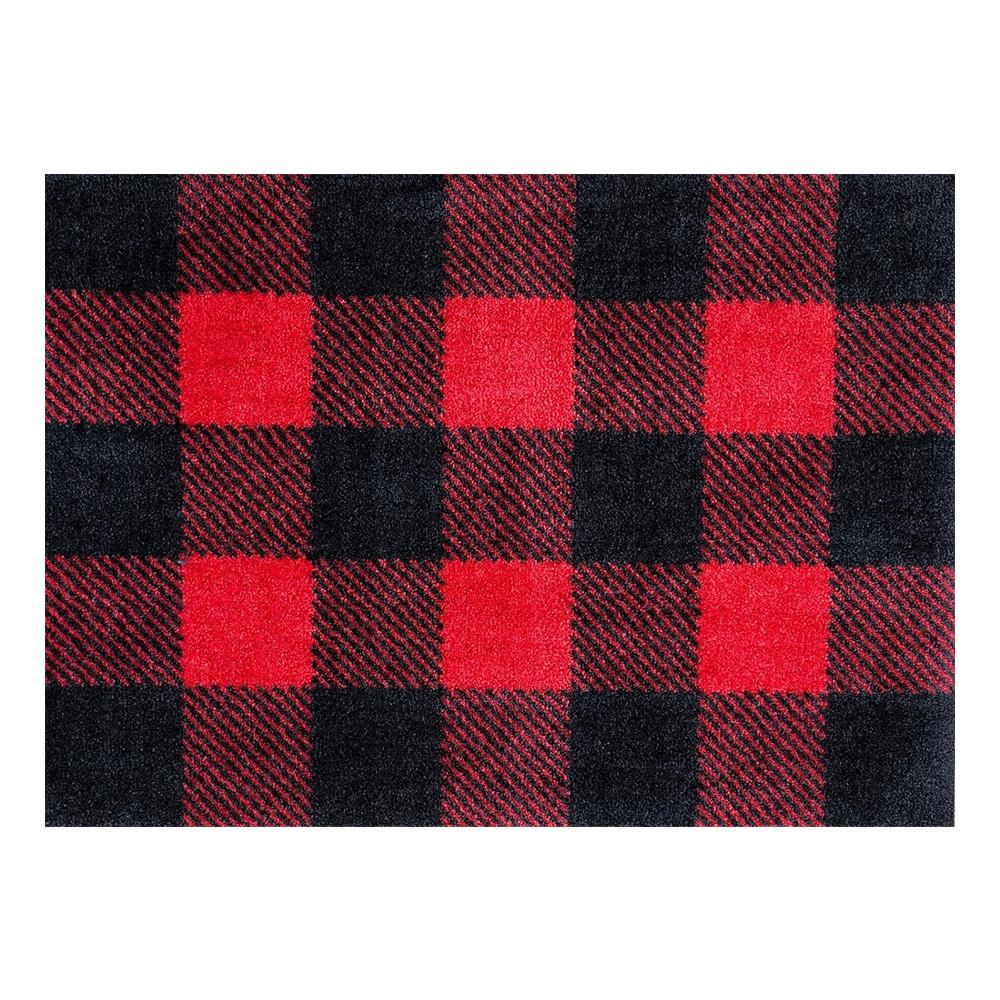 Washable Rugs Home Depot: Studio 67 In-Home Washable/Non-Slip Buffalo Plaid Red 2 Ft