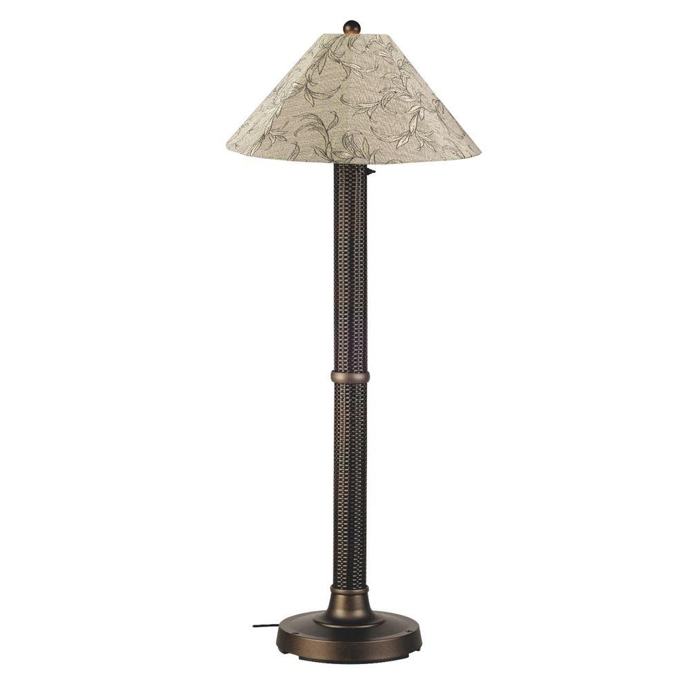Bahama Weave 60 in. Dark Mahogany Floor Lamp with Bessemer Shade