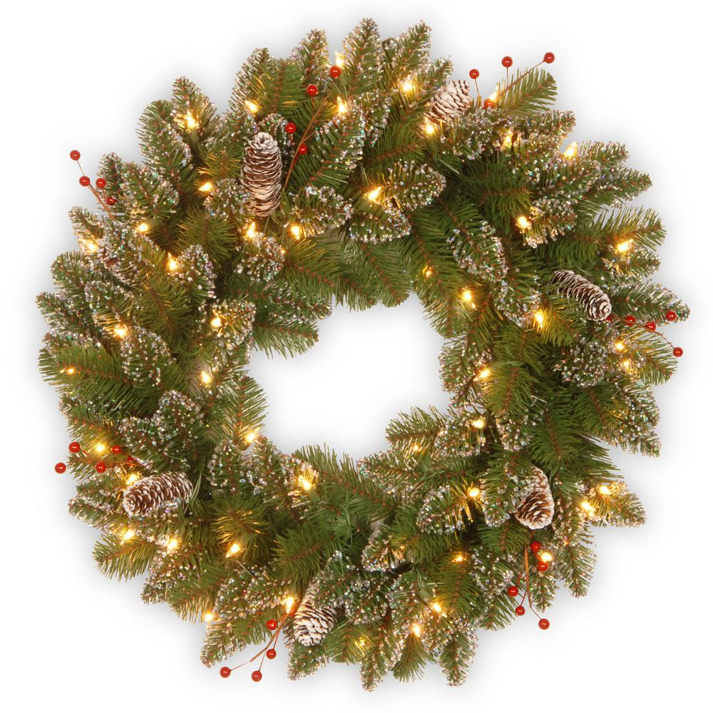 national tree company glittery mountain spruce 24 in artificial wreath with battery operated warm white