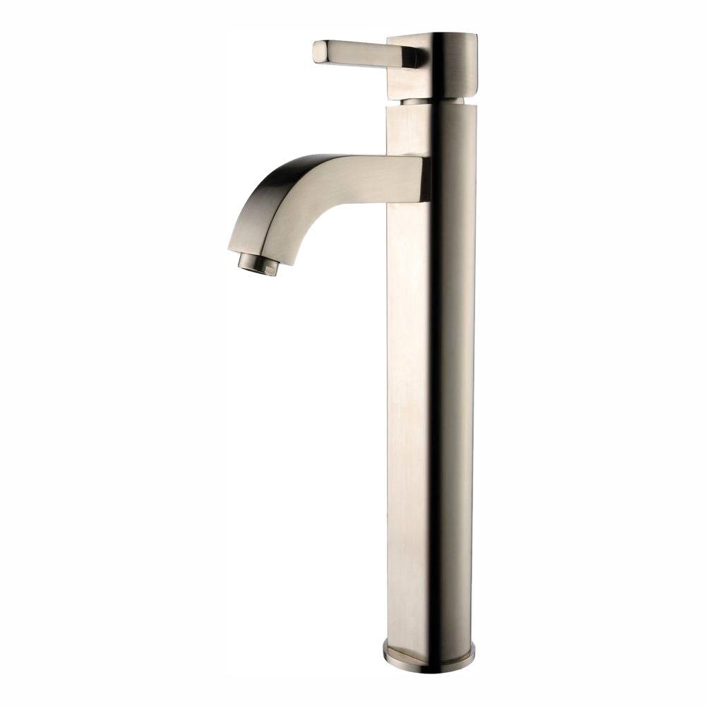 Ramus Single Hole Single-Handle Vessel Bathroom Faucet in Satin Nickel