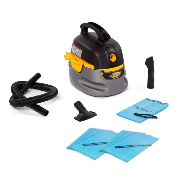 2.5 Gal. 1.75-Peak HP Compact Wet/Dry Shop Vacuum with Hose, Accessories and 6 Filter Bags