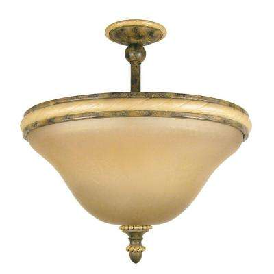 Ahwahnee Collection 2-Light Grecian Stone Semi-Flush Mount Light with Honey Parchment Glass Shade