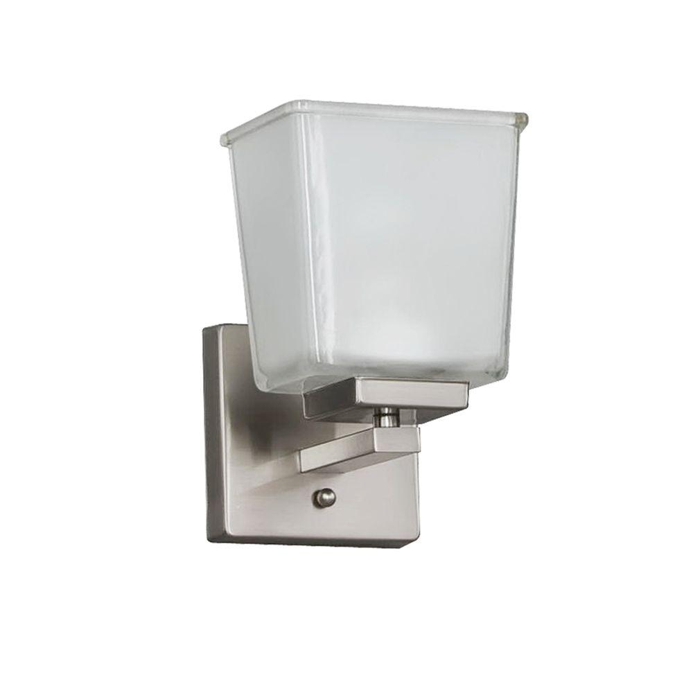 null 1light brushed nickel wall sconce