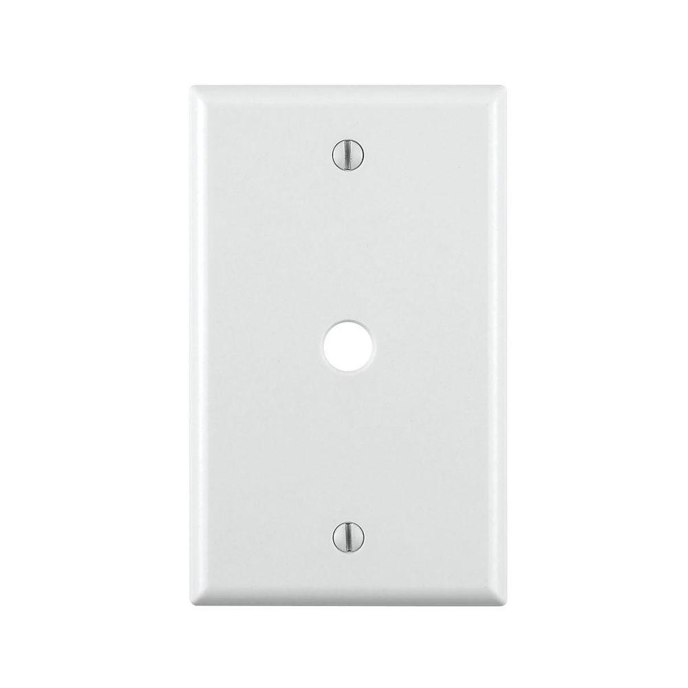 1-Gang Phone/Cable Box Mount Wall Plate, White