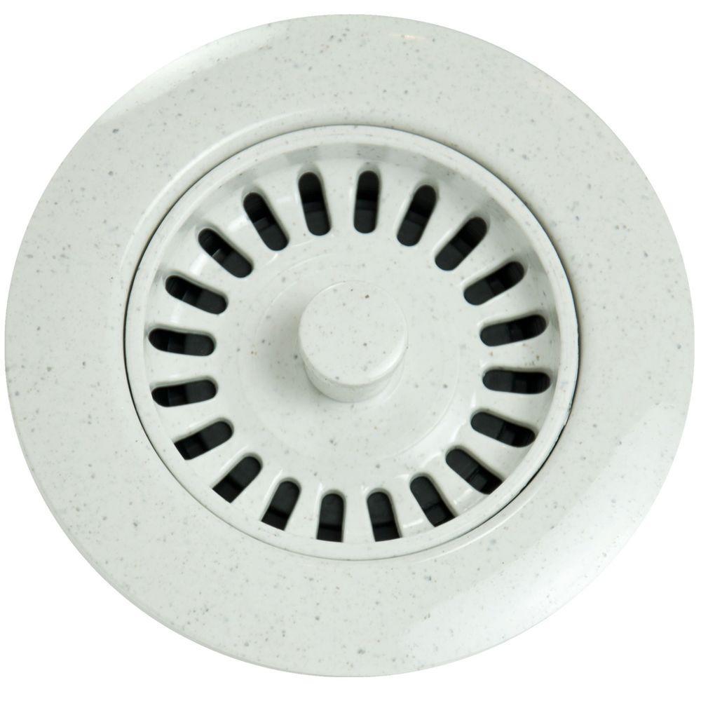 Xenoy Plastic Molded Garbage Disposal Stopper/Strainer for Granite Sinks in Polar White