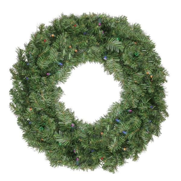 Northlight 24 In Pre Lit Led Canadian Pine Artificial Christmas Wreath With Timer Multi Lights 32913300 The Home Depot