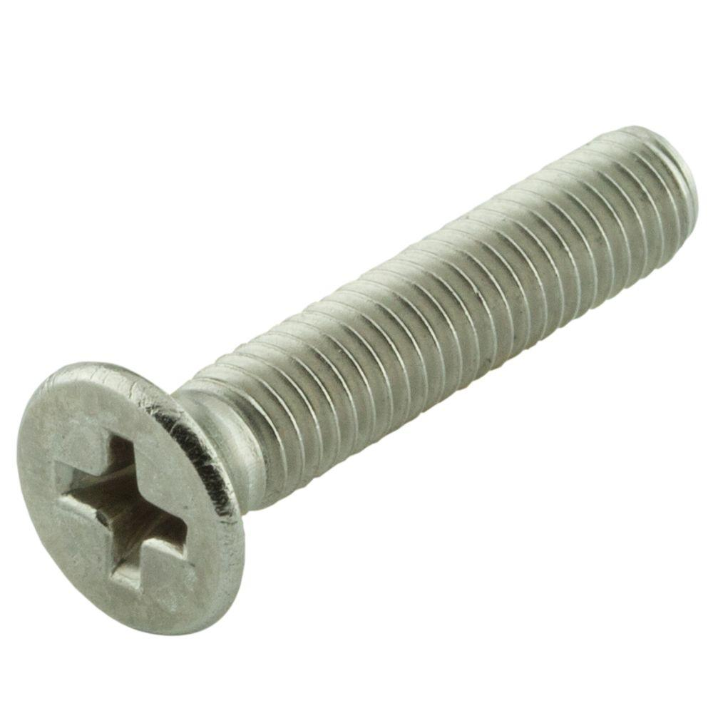 Everbilt M8-1.25 x 50 mm Phillips Flat Head Stainless Steel Machine Screw