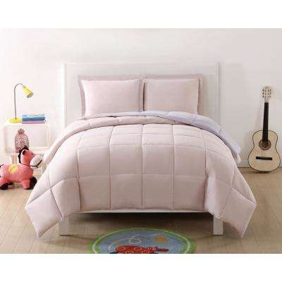 Anytime Solid Blush and Lavender Reversible Full/Queen Comforter Set (3-Piece)