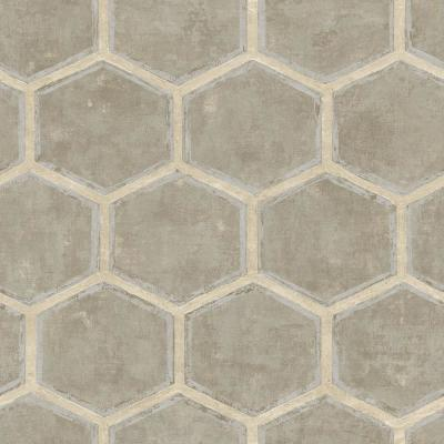 Wright Metallic Silver, Gold and Greige Hexagonal Wallpaper