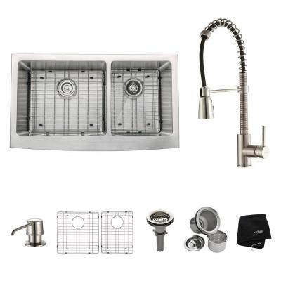 All-in-One Farmhouse Apron Front Stainless Steel 36 in. Double Bowl Kitchen Sink with Faucet in Stainless Steel
