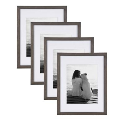 Gallery 11x14 matted to 8x10 Gray Picture Frame Set of 4