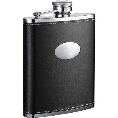 Eclipse Black Leather Hip Flask
