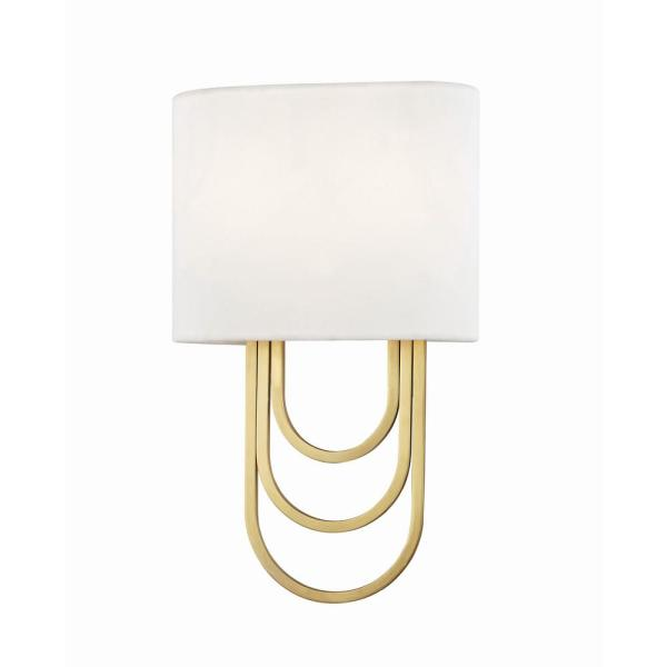 Farah 2-Light Aged Brass Wall Sconce with White Linen Shade