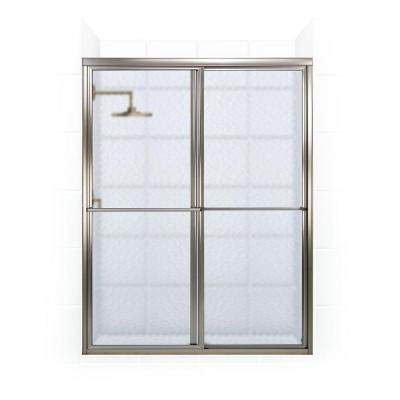 Newport 46 in. to 47.625 in. x 70 in. Framed Sliding Shower Door with Towel Bar in Brushed Nickel and Aquatex Glass