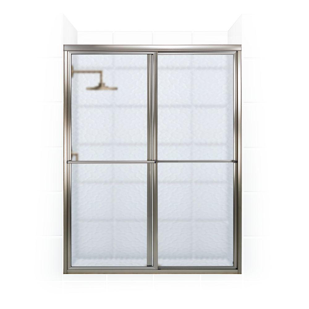 Coastal Shower Doors Newport Series 64 in. x 70 in. Framed Sliding Shower Door with Towel Bar in Brushed Nickel and Aquatex Glass