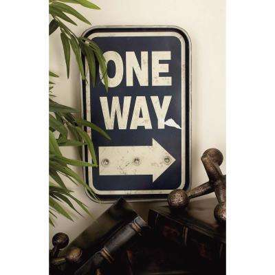 "10 in. x 16 in. Rustic Iron ""One Way"" LED Wall Sign"