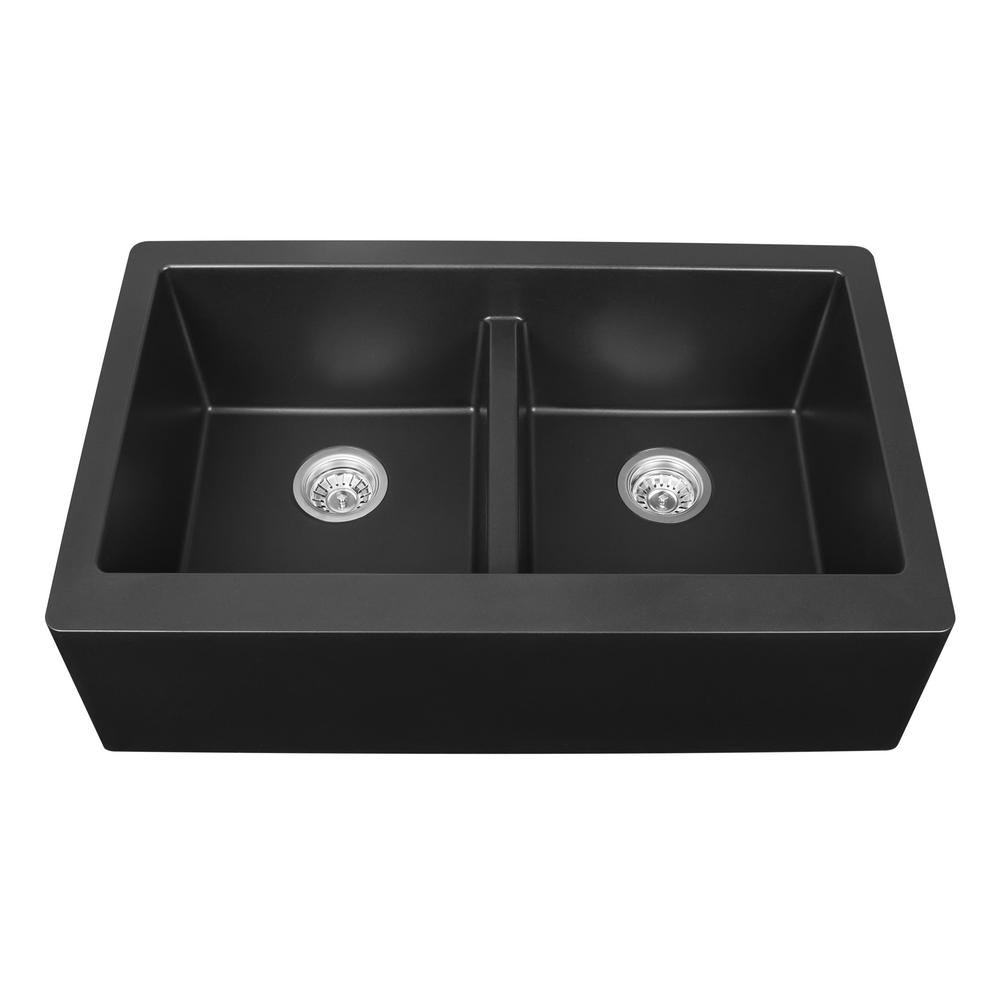 quartz composite kitchen sink 34 in no chip apron front double bowl rh ebay com  quartz stone composite kitchen sinks