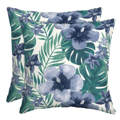 16 in. x 16 in. Salome Tropical Outdoor Throw Pillow (2-Pack)
