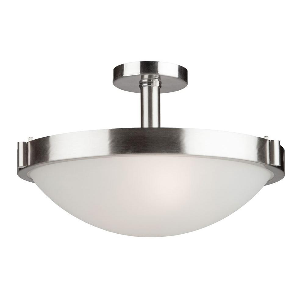 Hallisey 3-Light Brushed Nickel Semi-Flush Mount Light