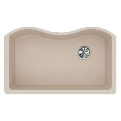 Quartz Classic Undermount Composite 33 in. Single Bowl Kitchen Sink in Putty