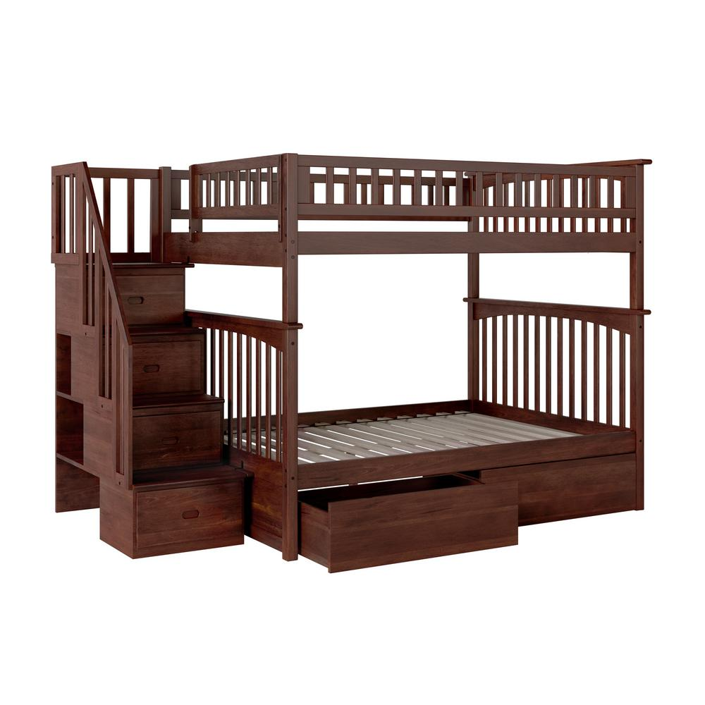 Columbia Staircase Walnut Full Over Full Bunk Bed with 2-Urban Bed