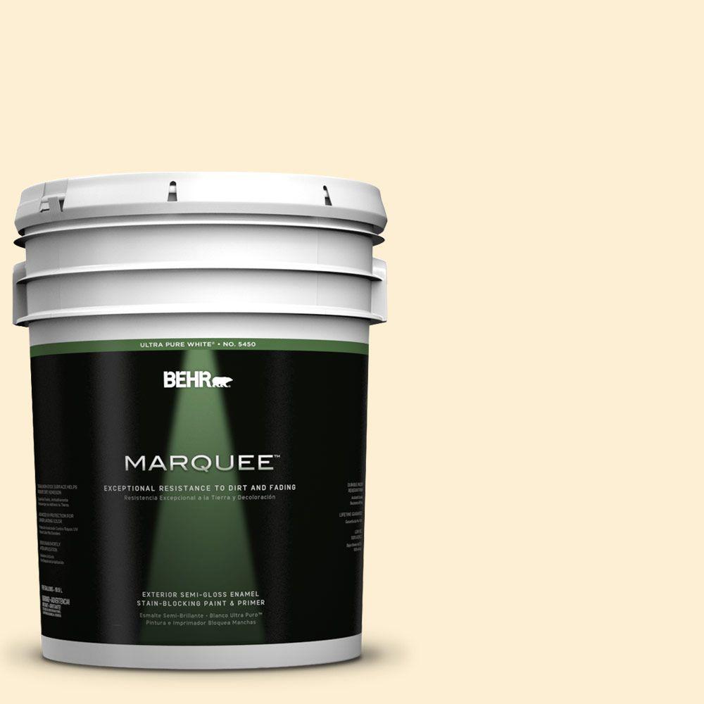 BEHR MARQUEE 5-gal. #350A-2 Vanilla Milkshake Semi-Gloss Enamel Exterior Paint