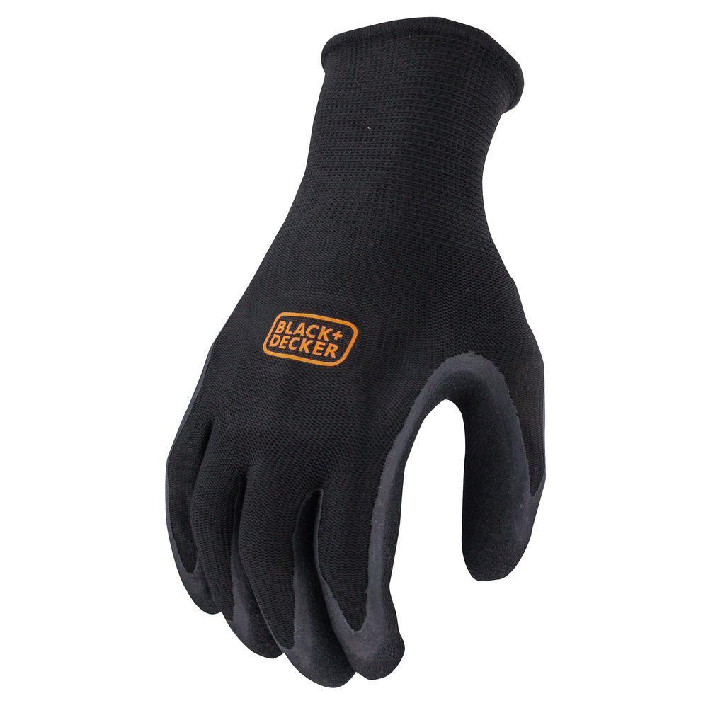 BLACK+DECKER Mens Medium Black Foam Latex Grip Glove