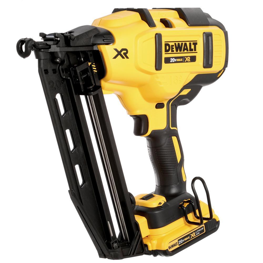 DeWALT 20-V MAX16 Gauge Cordless Angled XR Brushless Finish Nailer DCN660 A189