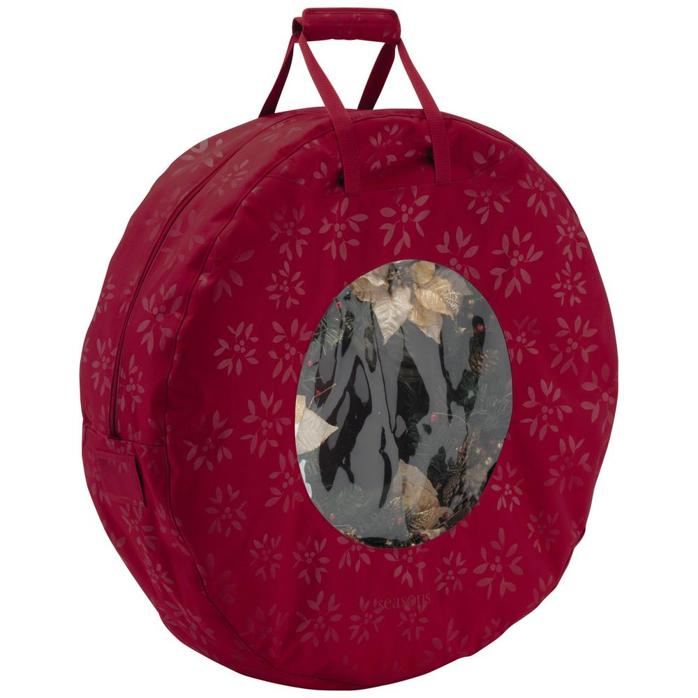 Classic Cranberry Seasons Wreath Storage Bag in Large