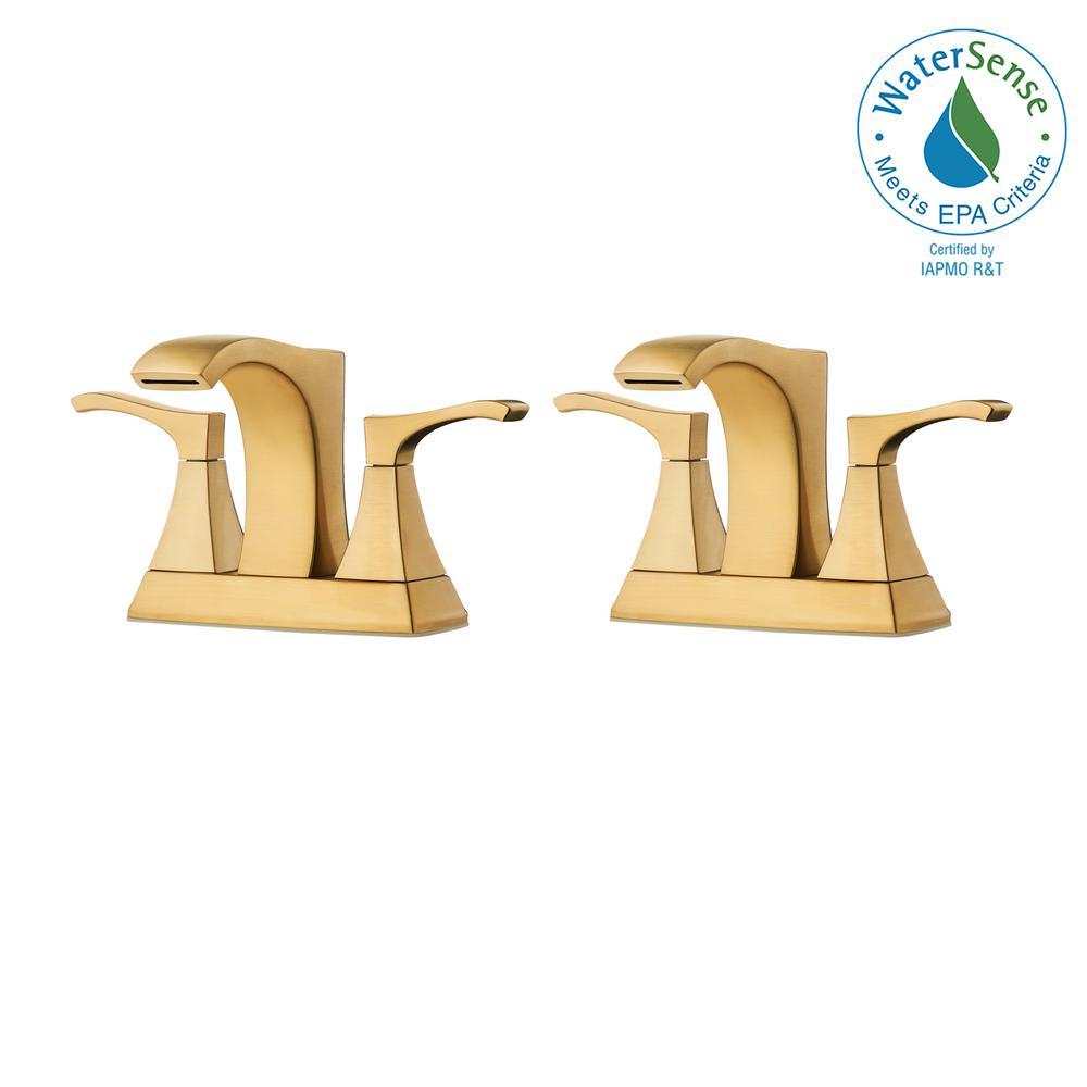 Venturi 4 in. Centerset 2-Handle Bathroom Faucet in Brushed Gold (2-Pack)